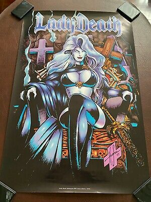 Lady Death Poster By Steve Hughes 24  X 36  From 1994 - Chaos Comics OOP • 8.99£