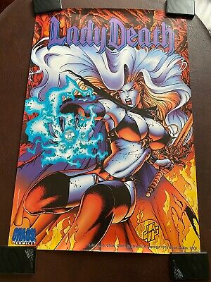Lady Death Poster By Steve Hughes 60cm X 89.5cm From 1995 - Chaos Comics OOP • 8.99£