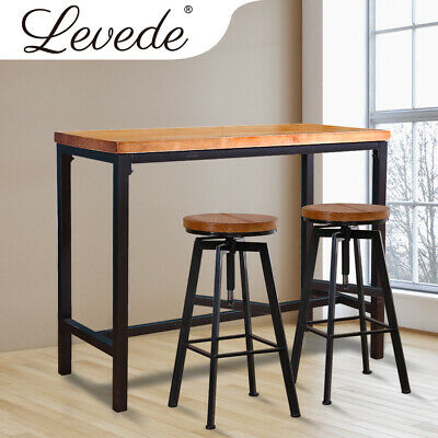 AU319.99 • Buy Levede 3pc Industrial Pub Table Bar Stools Wood Chair Set Home Kitchen Furniture