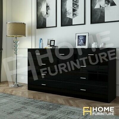 AU299.50 • Buy New 9 Chest Of Drawers Cabinet Dresser Table Lowboy Storage Bedroom Gloss Black