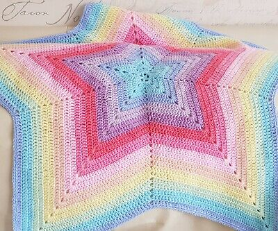 💫 Pastel Rainbow Crochet Star Baby Blanket Colourful Knit Shower Gift ⭐ • 15£