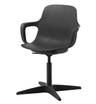 IKEA ODGER SWIVEL RESIN OFFICE CHAIR Anthracite - NEW • 30£