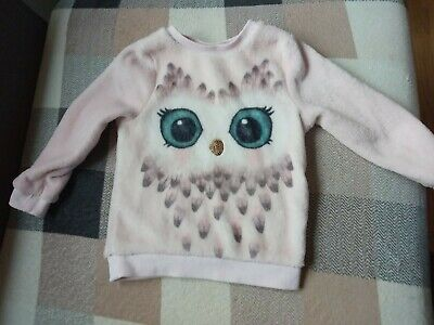 Girls Pink Soft Winter Jumper Owl Face Sequins H&M Size 2-4 Years 98 104 Cm • 4£