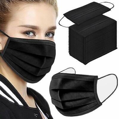 Black Disposable Face Masks 3 Ply Non Medical Protective Breathable Mask  • 5.29£