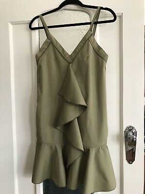 AU70 • Buy Scanlan Theodore Cotton Strappy Ruffled Front And Hem DRESS Size 6 Olive Green
