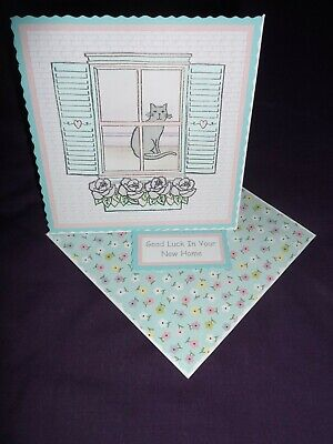 Handmade Twisted Easel New Home Card - Cat Sat At Window - Pastel • 1.75£