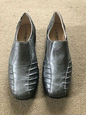 Ladies Shoes Cotton Traders Size 8 Leather Slip On Pewter/metallic New/unworn • 4£