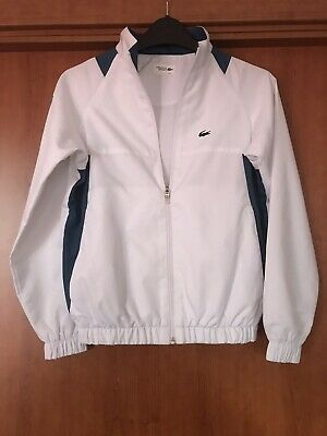 LACOSTE White & Blue Logo Tracksuit Top - Hardly Worn, Age 12 Years (152cm) • 25£