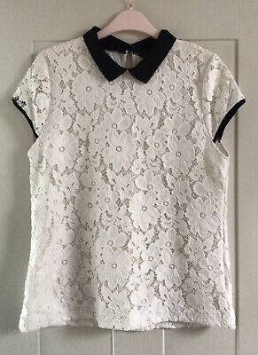 Dorothy Perkins Cream Floral Lace Top With Black Peter Pan Collar - Size 16 • 2.99£