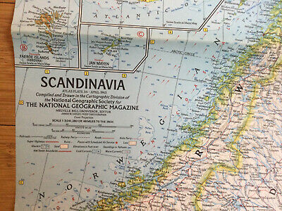 LARGE VINTAGE 1963 MAP -  SCANDINAVIA- NATIONAL  GEOGRAPHIC Very Good Condition • 2.20£