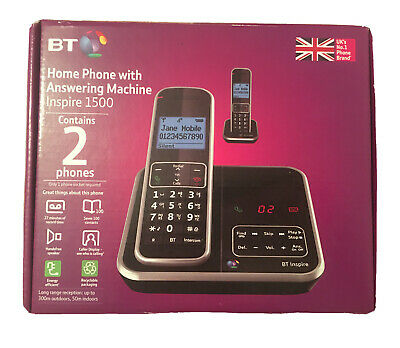 BT Inspire 1500 Cordless Home Phone Landline Answer Machine Voicemail Twin Set • 39.99£