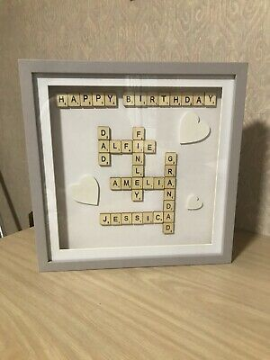 Personalised Family Scrabble Letter Box Frame Picture Present Various Available • 25£
