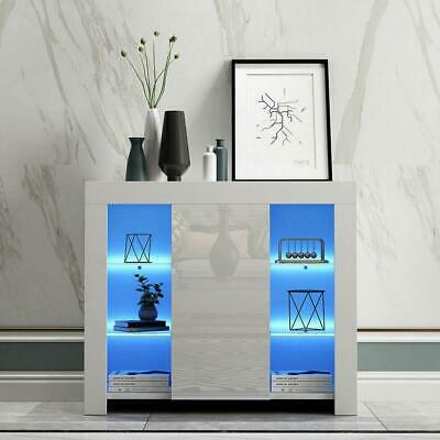 TV Stand High Gloss Doors Cabinet Cupboard Sideboard Glass LED Light Night Table • 96.95£