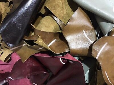 £7.75 • Buy 2Kg Upholstery Quality Leather Remnants-Pieces-Odments-Crafts-Off Cuts-Scrap