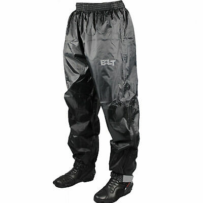 Bolt Motorcycle 100% Waterproof Over Trousers/Pants - Black • 14.99£