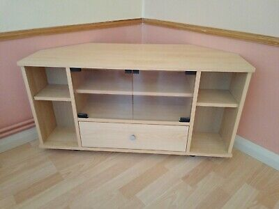 Corner TV Or Stereo Cabinet Unit Wooden With Glass Doors And Drawer Collect Kent • 12£