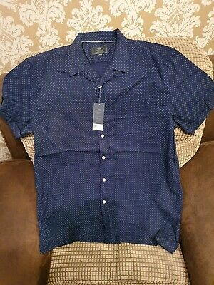 Atlantic Bay Navy Spot Short Sleeved Shirt XL Bnwt • 3£
