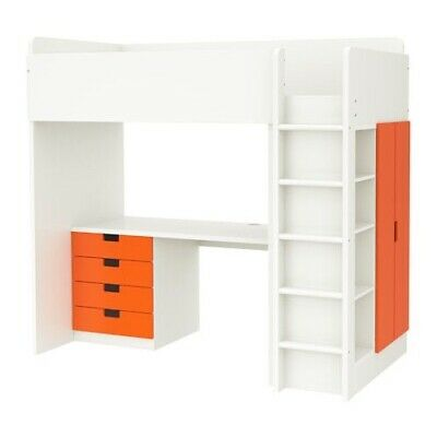 IKEA Stuva Loft Cabin Bed With Desk, Drawers, Wardrobe & Chair. White And Orange • 75£