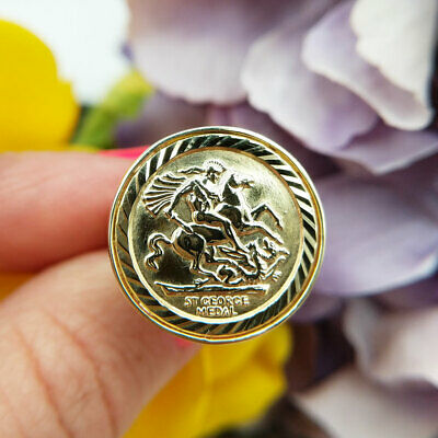 £245 • Buy Solid 9ct Yellow Gold St George Ring   2.1cm Half Sovereign Size   Men's Women's