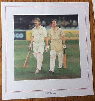 DENIS COMPTON & IAN BOTHAM, I WISH I WAS, CRICKET, Coloured Poster Picture • 1£
