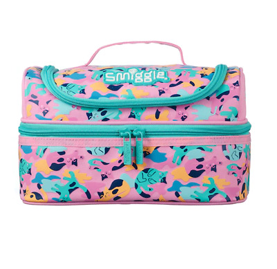 $ CDN31.73 • Buy NEW Girls Smiggle KITTY Cat Double Decker Lunch Box Sandwich Bag School 🌈  PINK