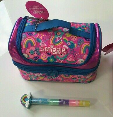 $ CDN35.26 • Buy Girls Smiggle Flow Pink Double Decker Sandwich Lunch Bag Box School Gift RAINBOW