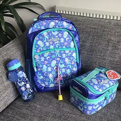 $ CDN100.53 • Buy Smiggle Flow BACKPACK Double Decker Lunch Box Bag Bottle Girls Gift BUNDLE BLUE