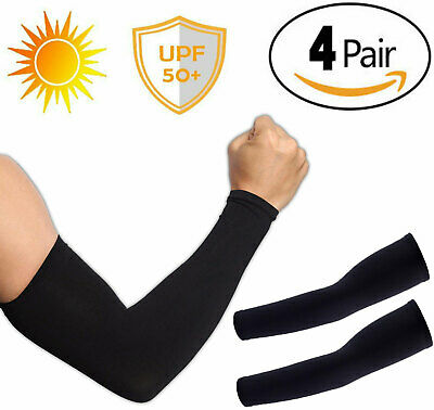 4 Pairs UV Protection Cooling Arm Sleeve UPF 50 Sun Sleeves For Men Women Unisex • 5.59£