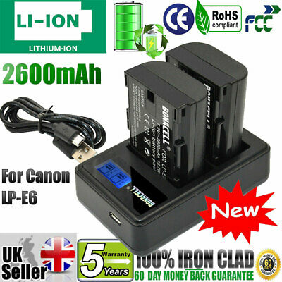 2x LP-E6 LP-E6N Battery +LCD Dual Charger For Canon EOS 5D Mark II III 6D 7D 60D • 19.99£