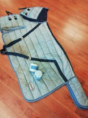 £15 • Buy Masta 5'9 Heavyweight Horse Stable Rug Pale Blue Plus Stable Bandages (used)