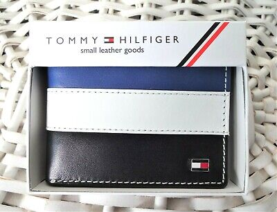 £18.99 • Buy Men's Leather Wallet 'Tommy Hilfiger'Bifold, BLACK,WHITE&BLUE,Coin Pouch,MRP $60