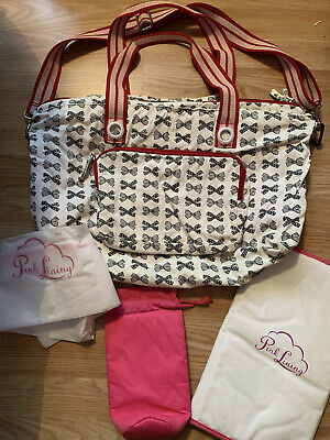 Rare Pink Lining Yummy Mummy Washable Cotton Baby Changing Bag Ribbons And Bows  • 10£