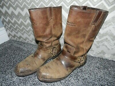 $ CDN25.95 • Buy VINTAGE MEN'S HARLEY DAVIDSON BROWN LEATHER HARNESS MOTORCYCLE BOOTS In SIZE 10