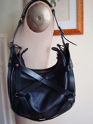 EDGY & RARE LANVIN Black Woven Leather Strap Shoulder Bag Handbag EXC • 42.20£