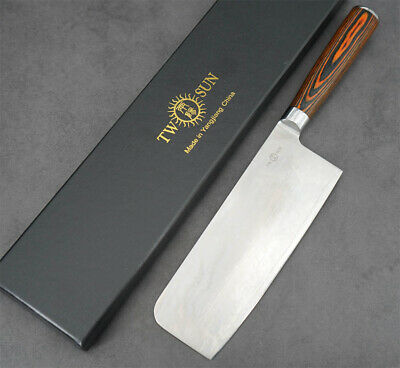 $ CDN37.99 • Buy New Twosun Kitchen Slicing Cleaver Chef Knife 165mm 6 3/4   Damascus Blade TS520