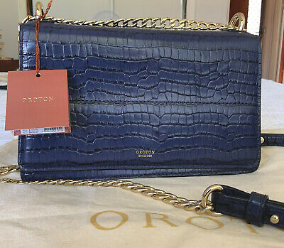 AU50 • Buy Oroton Clutch Convertible Shoulder Handbag, Blue Leather, Croc, Gold Chain