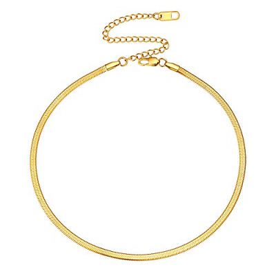 £18.05 • Buy FOCALOOK 3MM Gold Snake Chain 12 Inch 18K Gold Plated Flat Chain Choker Necklace