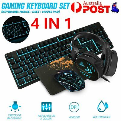 AU48.89 • Buy Gaming PC Keyboard / Mouse / Mousepad / Headset 4-IN-I Combo Set For PC PS4 Xbox