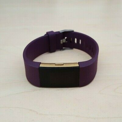 AU59.50 • Buy Fitbit Charge 2 Gold Heart Rate Fitness Activity Tracker Purple Wristband Large