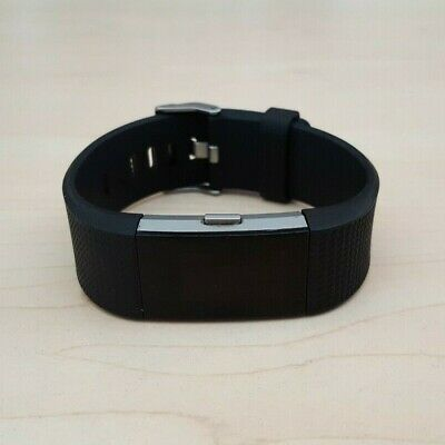 AU59.50 • Buy Fitbit Charge 2 Silver Heart Rate Fitness Activity Tracker Black Wristband Small