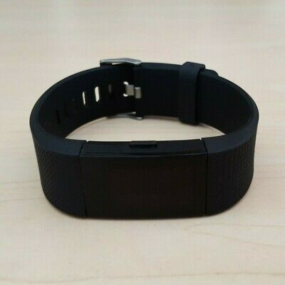 AU59.50 • Buy Fitbit Charge 2 Black Heart Rate Fitness Activity Tracker Black Wristband Large