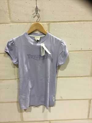 Triumph Motorcycle Ladies Lilac Print T Shirt NEW Size S • 19.99£