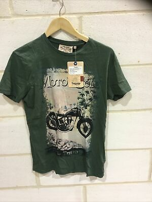 Triumph Motorcycle Mens Vintage Dark Green T Shirt NEW Size S • 19.99£