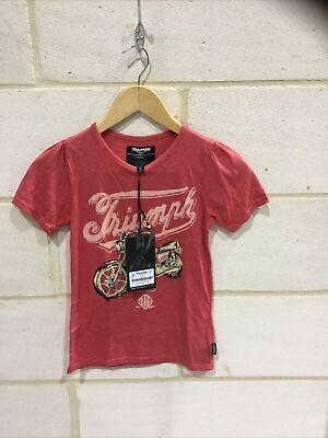 Triumph Motorcycle Kids Girls 'Rosie' T Shirt NEW Size 7-8 • 14.99£