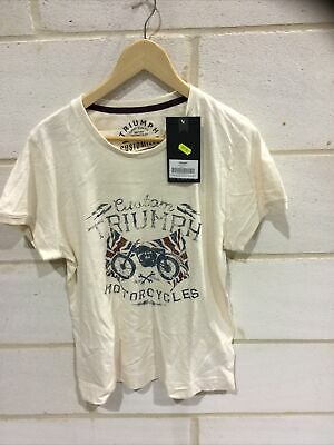 Triumph Motorcycle Ladies Cream 'Christa' T Shirt NEW Size XL • 19.99£