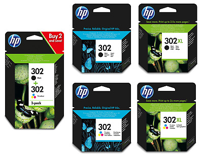 Original HP 302 & 302XL Black / Colour Ink Cartridges For HP Envy 4527  • 21.99£