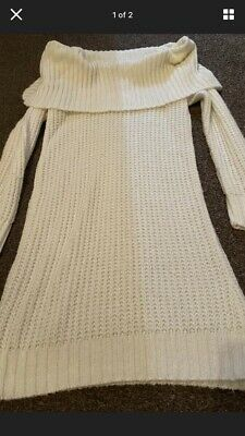 Cream Boohoo Off  The Shoulder Knitted Dress • 9£