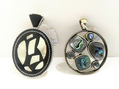 $ CDN25.05 • Buy Lia Sophia Necklace Pendants Lot Of 2 Black Enamel MOP Cut Out Abalone NWT