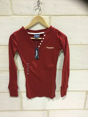 Triumph Motorcycle Ladies Red 'spirit Rib'  T Shirt NEW Size XXS • 19.99£