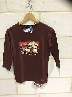 Triumph Motorcycle Ladies Burgundy 'life Needs More' T Shirt NEW Size XXS • 19.99£
